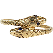 SALE Antique 18k Gold Double Headed Snake Ring with Sapphire Eyes, Engraved