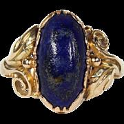 Antique Lapis Ring, Scandinavian in 14k Gold c. 1915