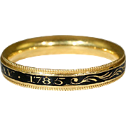 "Antique Enamel Georgian Memorial Band Ring, 18k Gold ""Bush"" c. 1785"
