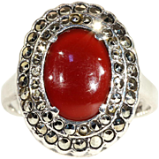 Vintage Art Deco Silver Carnelian and Marcasite Ring c.1920
