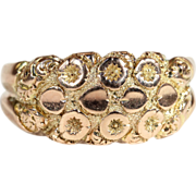 Antique Edwardian Love Knot Ring with Ivy Motif, 9k Gold, Mens Ring
