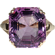 SALE Vintage 10+ Carat Amethyst and 14k Gold Cocktail Ring, 1950's