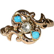 Antique 18k Art Nouveau Turquoise and Diamond Ring, European c.1890