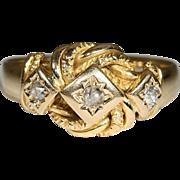 Vintage 18k Edwardian Diamond Love Knot Ring Hallmarked Birmingham 1915