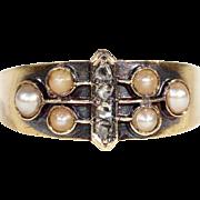 SALE Antique 15k Victorian Diamond and Pearl Ring, Hallmarked Birmingham c. 1900
