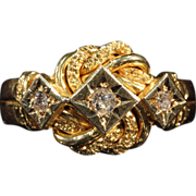 18k Gold English Knot Ring with Diamonds, Hallmarked 1918