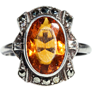 SALE Vintage Amber & Marcasite Ring in Silver, Dutch c. 1920