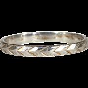 Vintage Platinum Wedding Band Ring, Size 8.75