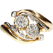 SALE Vintage French Diamond Bypass Ring, 'Toi et Moi' in 18k Gold & Platinum