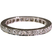 Clearance Sale!! - Vintage Art Deco Platinum and Diamond Eternity Wedding or Anniversary Band,