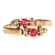 18k Gold Ruby and Diamond Twinkle Bypass Ring