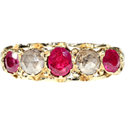 SALE Gorgeous Georgian 5 Stone Ruby and Diamond Ring in 18k Gold, *VIDEO*