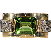 SALE Vintage Retro Peridot and Diamond Ring, 18k Gold, *VIDEO*