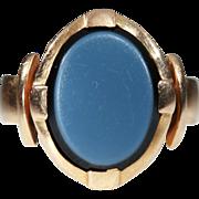 Antique Arts & Crafts Oval Agate Men's Ring in 18k Gold