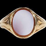 Antique Victorian Sardonyx Signet Ring in 15k Gold