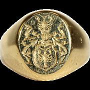 Antique Polish Warnia Clan Intaglio Ring in 18k Gold