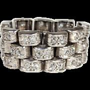 Art Deco Platinum Diamond Eternity Band Ring, Flexible, Sz 8.5-9.25, 2+ctw, *VIDEO*