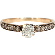 SALE Antique Diamond Engagement Ring, Dutch c. 1875 in 14k Gold, *VIDEO*
