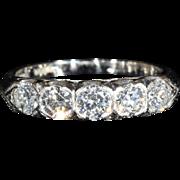 SALE Fantastic Vintage 5 Stone Diamond Ring in Platinum, 1ctw, c.1950, *VIDEO*