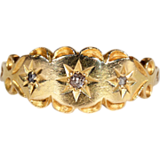SALE Antique Victorian 3 Stone Diamond Ring in 18k Gold, Hallmarked 1902