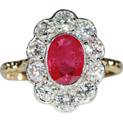 SALE Stunning Vintage Ruby and Diamond Cluster Engagement Ring, 18k Gold and Platinum