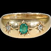 Beautiful 18k Antique Edwardian Emerald and Diamond Ring Hallmarked Chester 1905