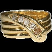 Vintage 18k Edwardian Diamond Snake Ring Hallmarked Birmingham 1916