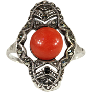 Fantastic Vintage Coral and Marcasite Art Deco Ring in Sterling Silver