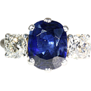 Vintage Art Deco 18k Sapphire and Diamond Engagement Ring, European c.1930