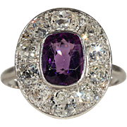 Antique Edwardian Diamond and Amethyst Cluster Ring in Platinum