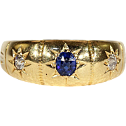 Antique Victorian 3 Stone Sapphire and Diamond Ring in 18k Gold, Hallmarked London 1897