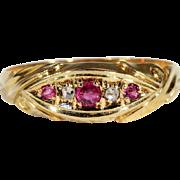 Antique Edwardian Ruby and Diamond 5 Stone Ring, Hallmarked 1903