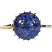 SALE Vintage Russian Lapis Lazuli and Gold Ring, 1950s, 14k