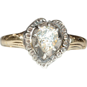 SALE Antique Rose Cut Diamond Heart Ring, 14k and Sliver European c.1860