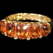 SALE Gorgeous Victorian Spessartite Garnet 5 Stone Ring, 18k Gold, *Video*