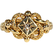 SALE Sweet Victorian Love Knot Ring with Diamond Center, Hallmarked 1871