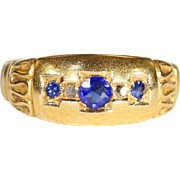 Antique Edwardian Sapphire and Diamond Ring in 18k Gold, Hallmarked 1912