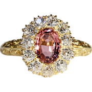 Pink Tourmaline and Diamond Ring, Sparkling Antique Victorian, *Video*