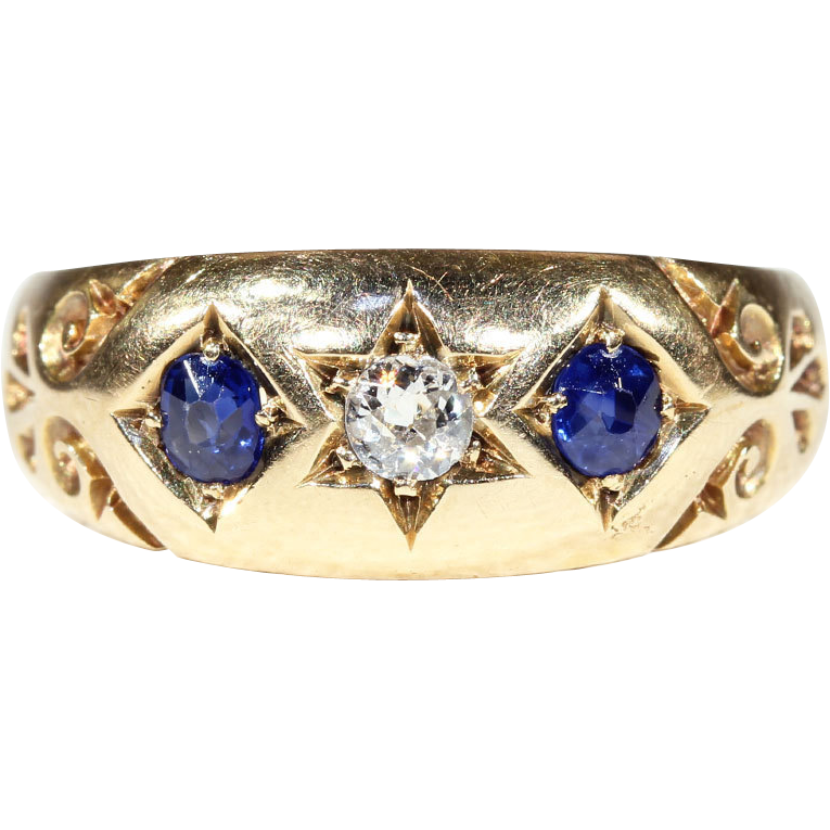 Antique Victorian 3 Stone Sapphire and Diamond Ring in 18k Gold