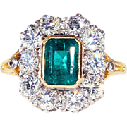 Fantastic 1950s Diamond & Emerald Cocktail Ring in 18k Gold