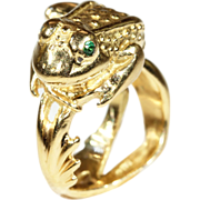Vintage 18k Gold French Frog Ring with Emerald Eyes, Fabulous!