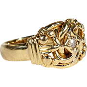Antique Sentimental Diamond Love Knot Ring in 18k Gold, Hallmarked 1913
