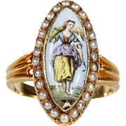 Antique Enamel and Pearl Navette Ring in 18k Gold