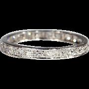 Vintage French Eternity Band Ring, Platinum c. 1925, size 8.5