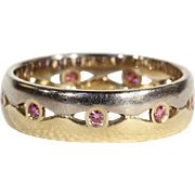 Vintage Yellow and White Gold Band set with Pink Diamonds, size 7.5