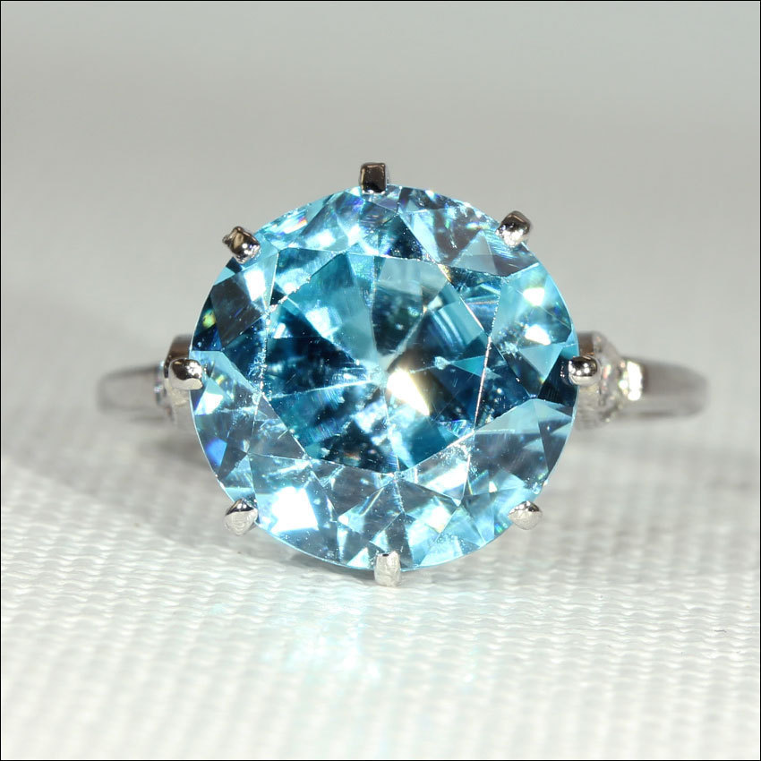 blue diamond wedding ring vintage blue zircon and ring in platinum c 1925 1925
