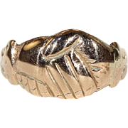 Antique Georgian Fede Clasped Hands Ring in 15k Gold