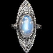Vintage Art Deco Moonstone and Diamond Ring, c. 1915 18k Gold