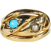 Antique Double Snake Ring with Pearl and Turquoise Heads and Rose Cut Diamond Eyes in ...