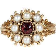 Antique Victorian Garnet and Pearl Etruscan Revival RIng in 18k Gold